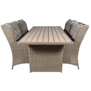 Blokhus havemøbel sæt med 4 stole brun meleret