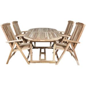 Houston havemøbelsæt ovalt teak havebord 180/240×100 cm. 4 stole