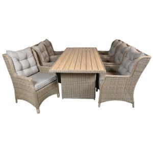 Blokhus havemøbel sæt med 6 stole brun meleret